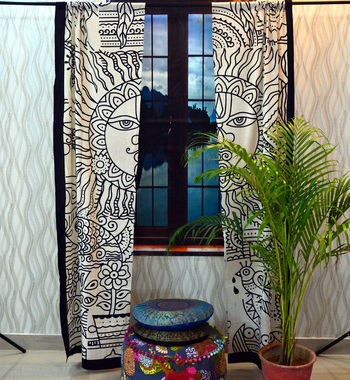 Indian curtains drapes window treatment tulle voile door window throw tapestry