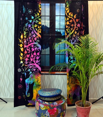 Indian elephant tree of life curtains tapestry drapes window treatment curtain