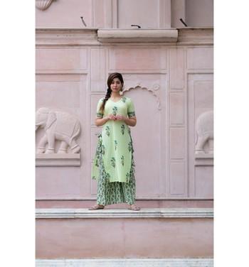 Green printed cotton kurtas and kurtis with palazzo