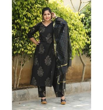 Black printed cotton kurtas and kurtis with palazzo