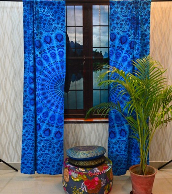 Mandala bedroom window curtains indian drape balcony room decor curtain boho set