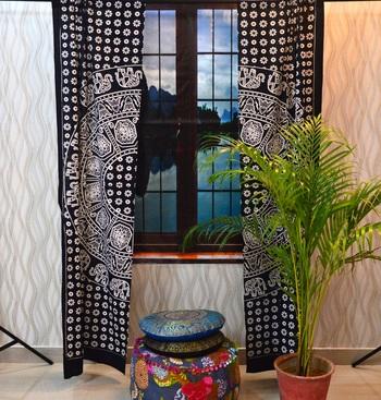 Mandala door window curtain bohemian indian tapestry drape panel cotton valance