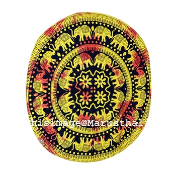 Mandala Roundie Beach Indian Elephant Mandala Tapestry Hippy Gypsy Cotton Tie Dye Table Covers Yoga Mat Bohemian