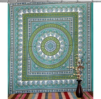 Boho living room hook curtains bohemian curtains for bedroom tie dye tapestry curtains mandala hippie dorm decor