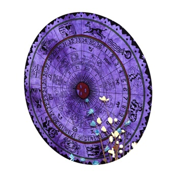 Mandala Roundie Beach Throw Horoscope Mandala Purple Tapestry Table Covers Hippie Boho Yoga Mat Bohemian Spread Cover