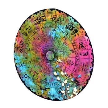 Mandala Roundie Beach Throw Horoscope Mandala Tapestry Cotton Multi Color Tie Dye Table Covers Yoga Mat Bohemian