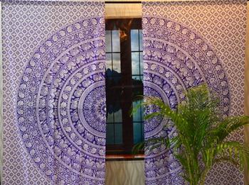 Indian door window curtains mandala tapestries drape panel sheer scarf divider