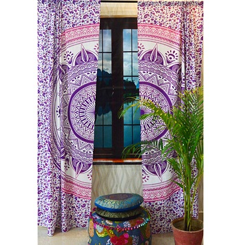 Indian mandala door window curtains cover drape panel hippie valances curtain