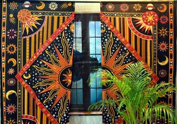 Cotton mandala curtains indian celtic wall drapery 2 valances panel scarf hippie