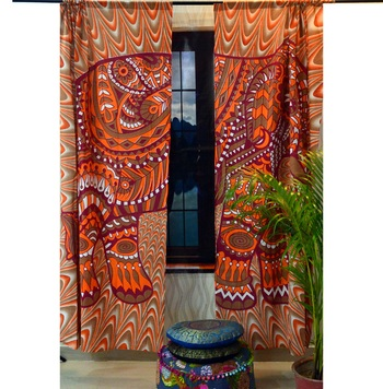 Psychedelic elephant window hanging tapestry cotton curtains indian new valances