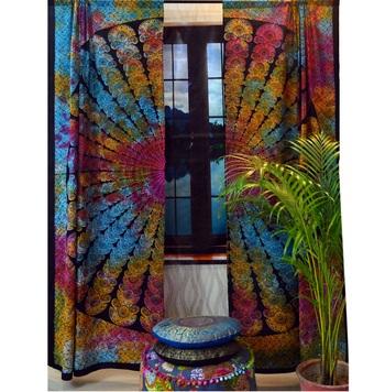 Indian mandala bedroom curtains throw tapestry drapes window treatment bohemian