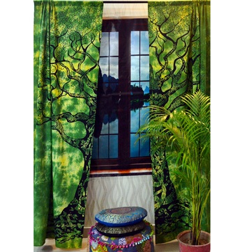 Indian mandala curtain hippie bohemian tie dye tree of lifeinclude 2 panel set queen tapestry, drapes & valances