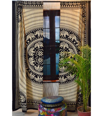 Indian round elephant mandala curtain hippie bohemian handmade include 2 panel set queen tapestry, drapes & valances
