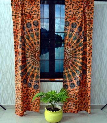 Indian orange mandala curtain hippie bohemian handmade include 2 panel set twin tapestry, drapes & valances
