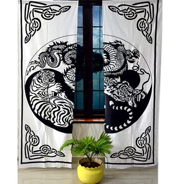 Black and white dragon and tiger mandala curtain hippie bohemian handmade include 2 panel set twin tapestry