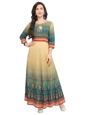 Yellow printed art silk kurti