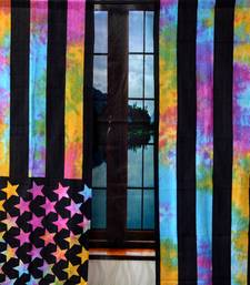 American flag curtain hippie bohemian handmade include 2 panel set Multicolor tie dye twin american flag tapestry