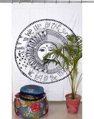 Mandala print curtain valance set dorm hook tapestry drape balcony room decor curtain boho set hippie