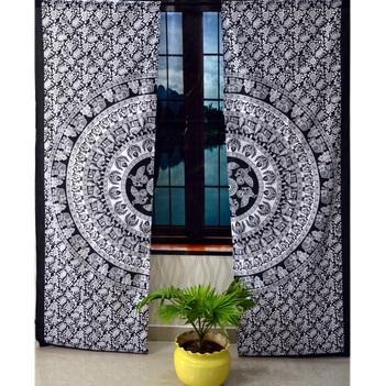 Black & white indian mandala curtain handmade curtains, 2 panel set twin gypsy hippie tapestry, window treatment curtain