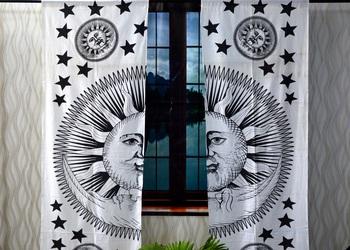 Burning sun black and white curtain gyspy hippie bohemian handmade include 2 panel set twin tapestry, drapes & valances