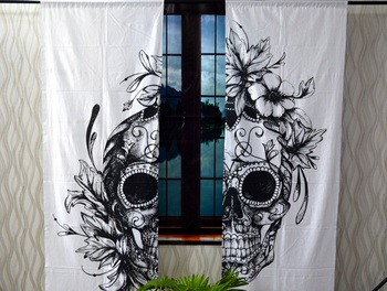 Indian mandala curtain hippie bohemian handmade black and white skull curtains, include 2 panel set twin tapestry
