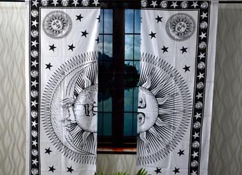 Mandala curtain hippie handmade curtains, include 2 panel set curtain, black & white burning sun moon tapestry