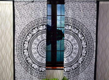 Indian mandala black and white curtain hippie bohemian handmade include 2 panel set twin tapestry, drapes & valances