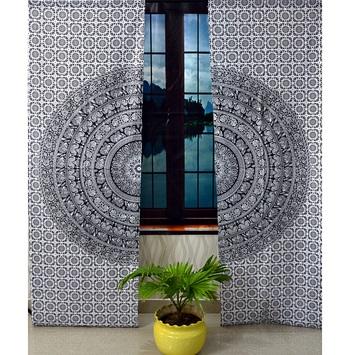Black & white mandala curtain gypsy hippie bohemian handmade include 2 panel set twin tapestry, drapes & valances