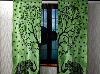 Indian green elephant tree of life curtain gypsy bohemian handmade include 2 panel set twin tapestry, drapes & valances