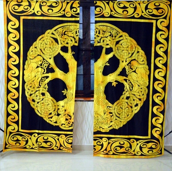 Indian mandala yellow curtain hippie bohemian handmade include 2 panel set queen tapestry, drapes & valances