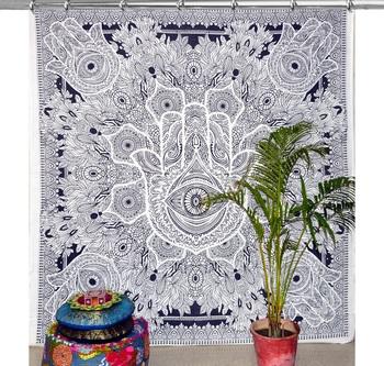 Boho living room hook curtains bohemian curtains for bedroom tapestry curtains mandala hippie dorm decor