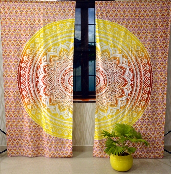 Ombre mandala curtain hippie bohemian handmade include 2 panel set queen tapestry, drapes & valances