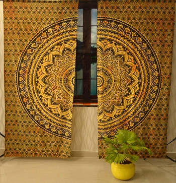 Indian mandala curtain gypsy hippie bohemian handmade ombre include 2 panel set queen tapestry, drapes & valances