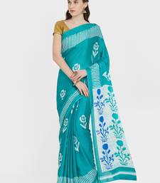 3129d2c4f602c Buy Turquoise printed crepe saree with blouse crepe-saree online