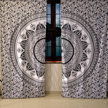 Indian lamp ombre mandala curtain hippie bohemian handmade include 2 panel set queen tapestry, drapes & valances