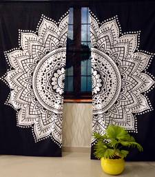 Indian mandala curtain handmade black & white flower include 2 panel set queen tapestry, drapes & valances