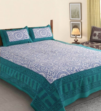 Blue cotton bed-sheets