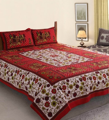 Red cotton bed-sheets