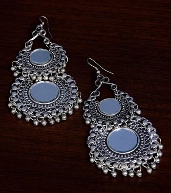 Silver Oxidised Mirror Embellished Double Afghani Chandbali
