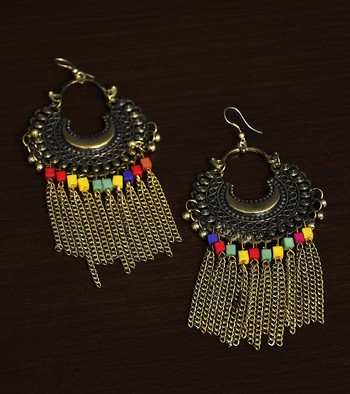 Gold Oxidised Afghani Style Chandbali with Hanging Chains