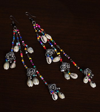 Afghani Silver Oxidised Multi-color Beads, Shells and Dangler Jhumka Style Long Earrings