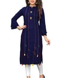 Blue hand woven rayon kurti