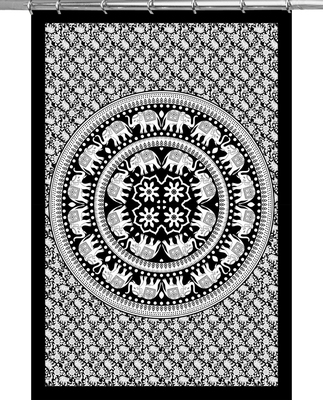 Mandala print curtain valance set dorm hook tapestry drape balcony room decor curtain boho set hippie