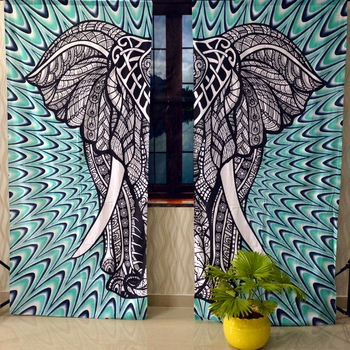Indian elephant curtain gypsy hippie bohemian handmade include 2 panel set queen tapestry, drapes & valances