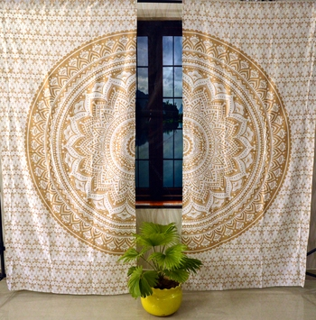 Indian gold ombre mandala curtain handmade include 2 panel set gold ombre mandala queen tapestry, drapes & valances