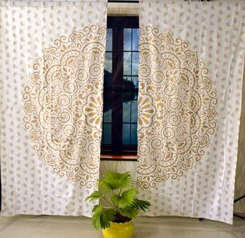 Gold ombre mandala indian curtain handmade include 2 panel set gold ombre mandala queen indian tapestry