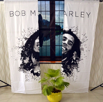 Bob marley curtain gypsy hippie bohemian handmade curtains, include 2 panel set curtain, twin tapestry
