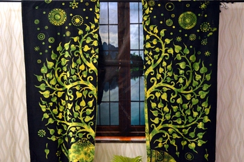 Green tree of life elephant curtain gyspy hippie bohemian handmade curtains, include 2 panel set curtain, twin tapestry