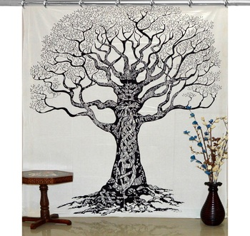Indian black and white tree of life hook tapestry mandala window curtain valances room divider hook curtains