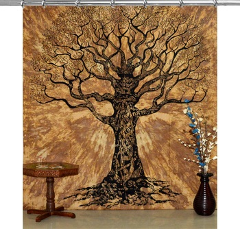 Tree of life tie dye curtains set decorative indian hook tapestry hook curtains wall hanging